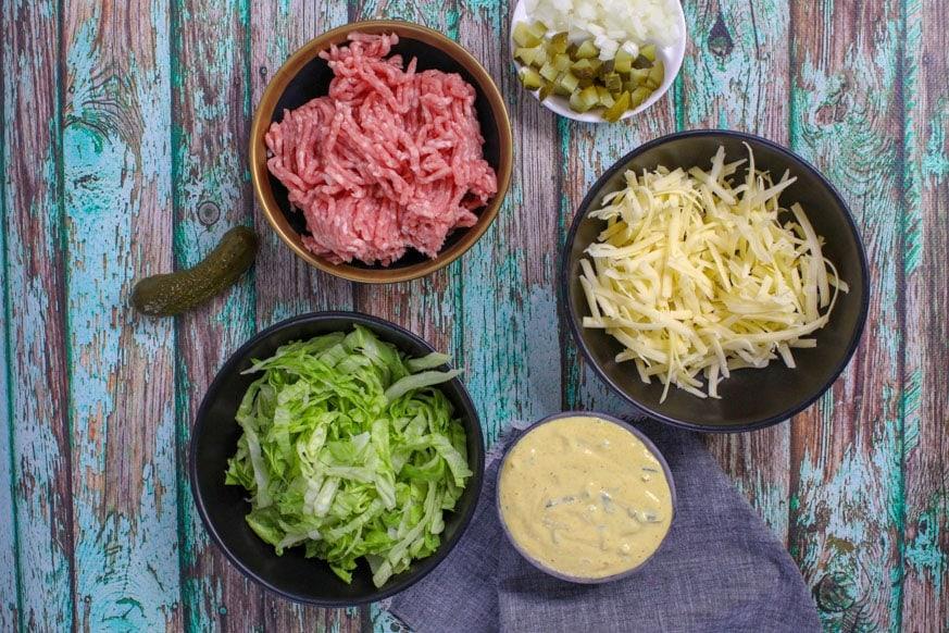 Burger salad ingredients