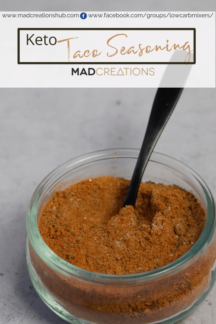 Mad Creations Taco Seasoning in a glass bowl
