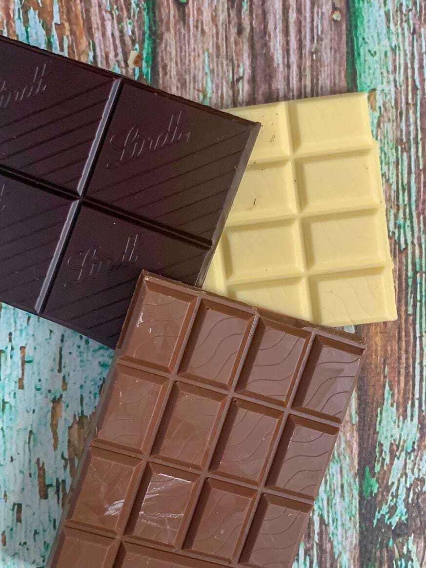 chocolate on green wood