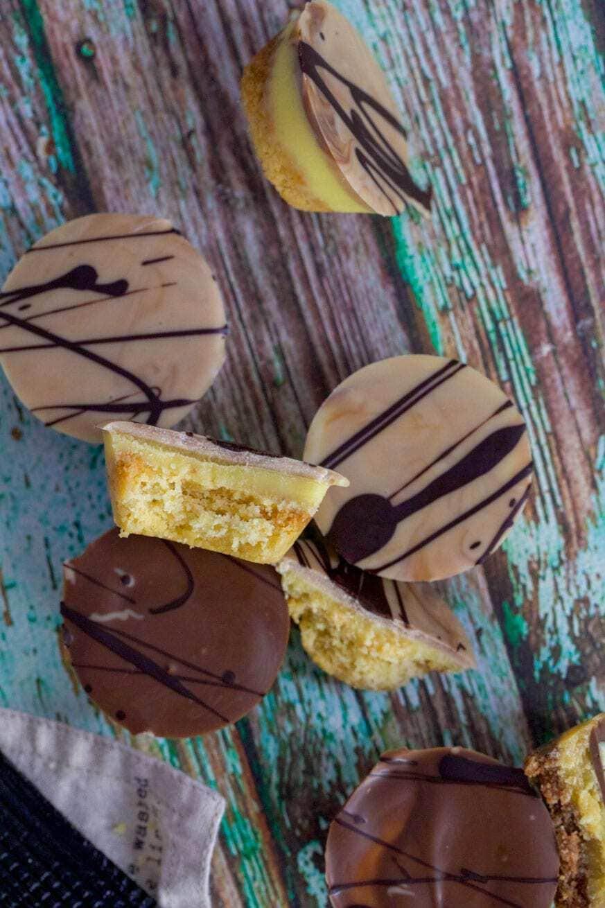 close up of keto chocolate caramel tarts
