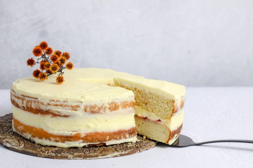 Mad Creations Keto Vanilla Cake on white table