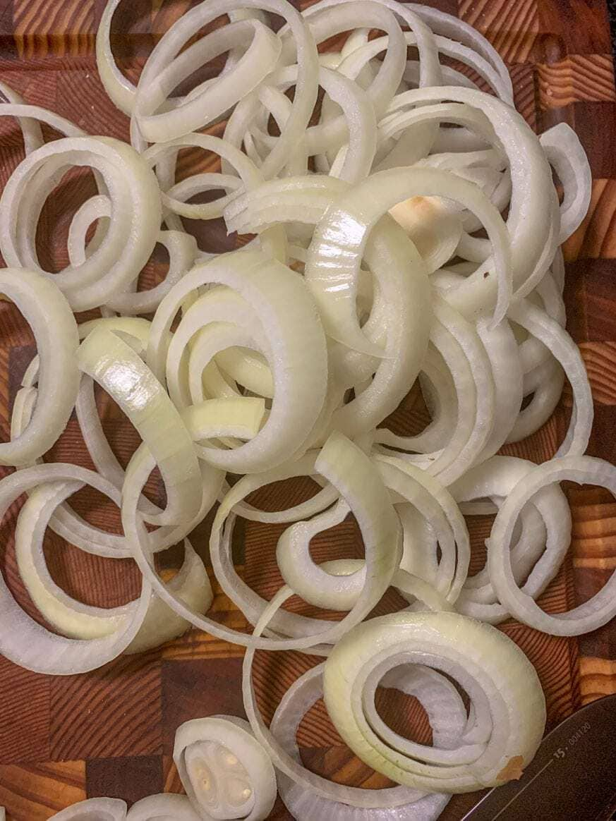onions on cutting board