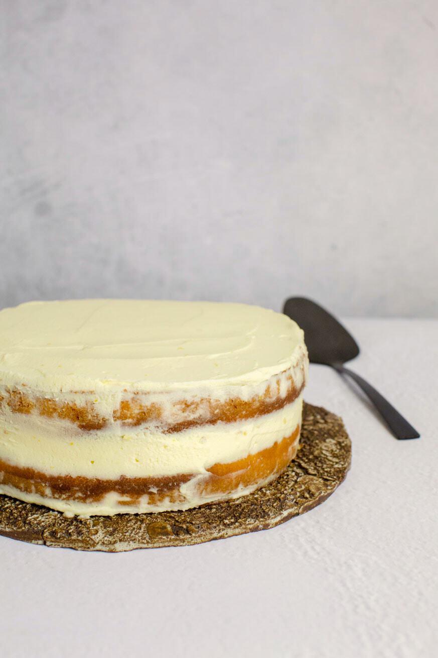 Keto cake on white table