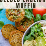 muffins and vegetables on blue wood backdrop