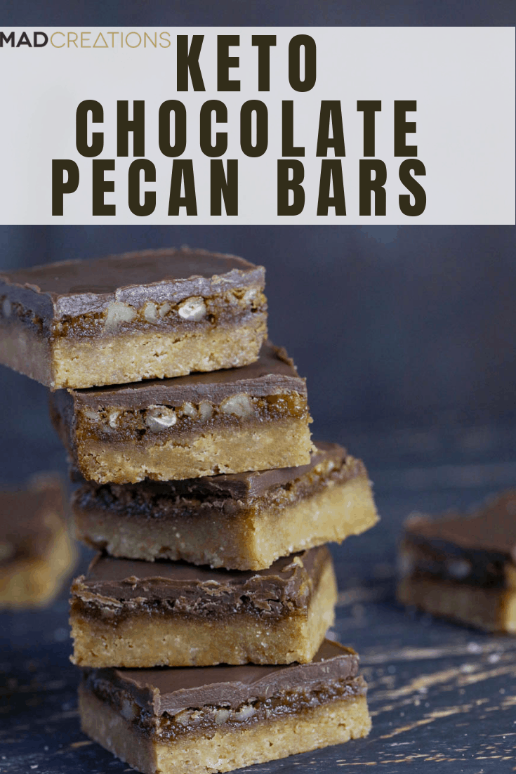 Keto Chocolate Pecan Bars pinterest banner