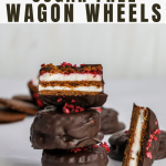 chocolate wagon wheels in a stack