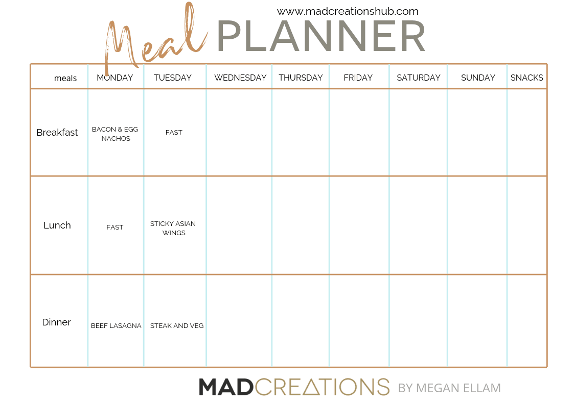 Mad Creations Meal Planner