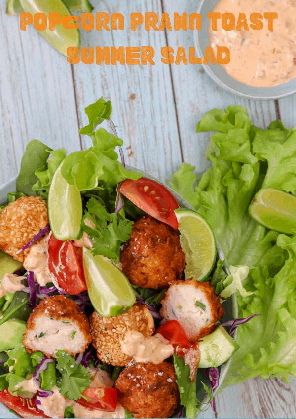 prawn toast balls and a salad