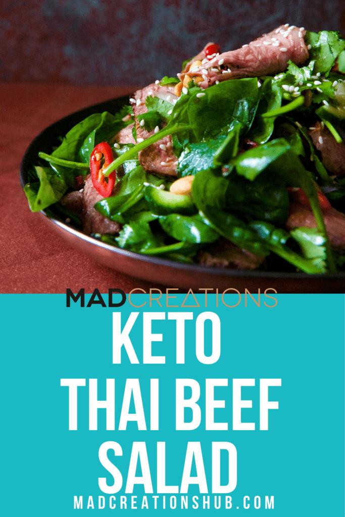 Keto Thai Beef Salad on a brown plate
