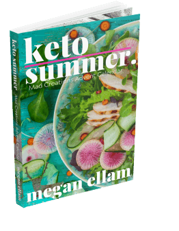 Keto summer cookbook with a salad on the front