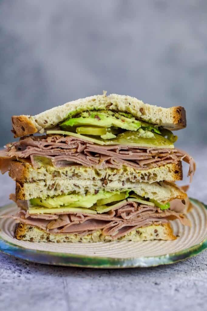 keto Roast beef sandwich on a white plate
