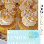 KETO LEMON MERINGUE CUPCAKES ON A FLOWER CAKESTAND