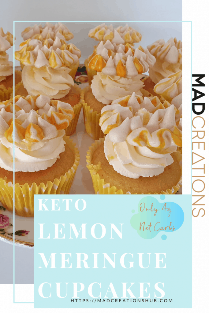 KETO LEMON MERINGUE CUPCAKES ON A FLOWER CAKESTAND