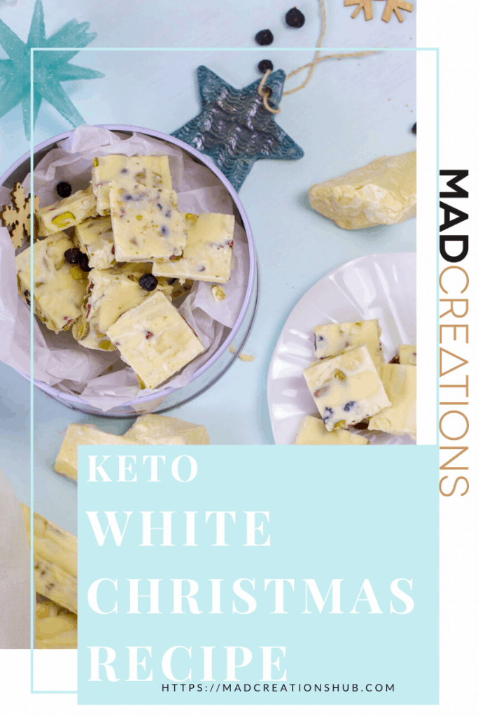 keto white christmas on plates on light blue table