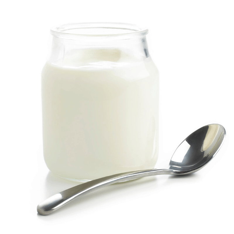 2 ingredient yoghurt in a glass jar with a spoon
