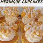 Keto lemon meringue cupcakes on a cake stand