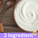 2 ingredient yogurt in a wood bowl with a spoon