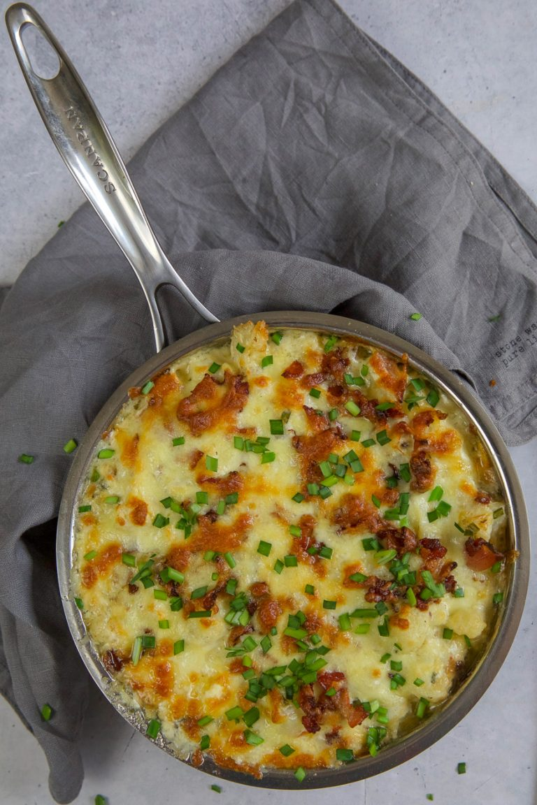 cauliflower mac and cheese in small frying pan