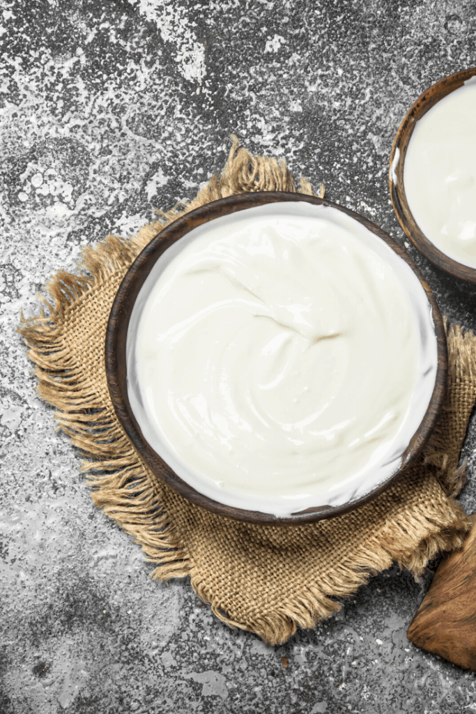 homemade keto yogurt in a wood bowl