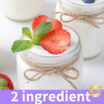 2 ingredient yogurt in a glass jar with a spoon