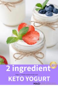 2 ingredient yogurt in a glass jar with a spoon