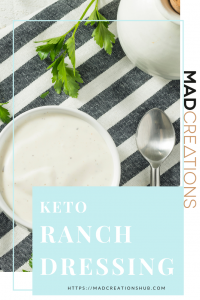 bowl of ranch dressing on black and white stripe towel