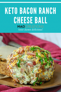 Bacon Ranch Cheese ball on a brown plate