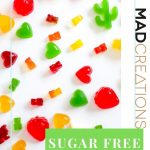 Sugar Free Gummies of all colours on white table