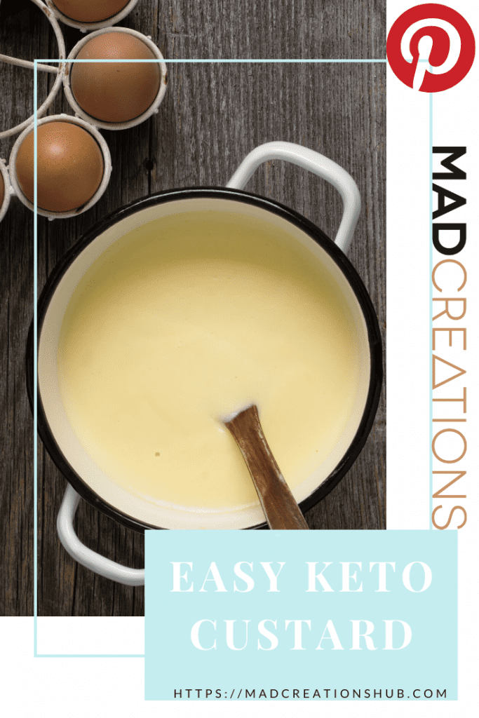 Easy Keto Custard in a pot with a wooden spoon