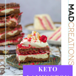Keto Lamington Sugar free Brownie on a green plate with cream