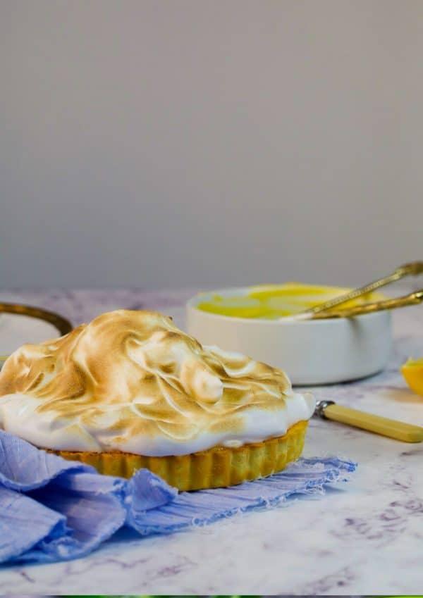 lemon meringue pie on marble countertop