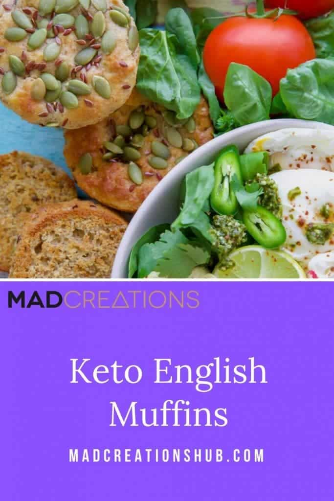 Keto English Muffin and herbs and tomatoes on blue wood backdrop