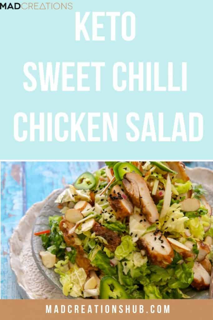 Keto Sweet Chilli Chicken Salad on a grey plate
