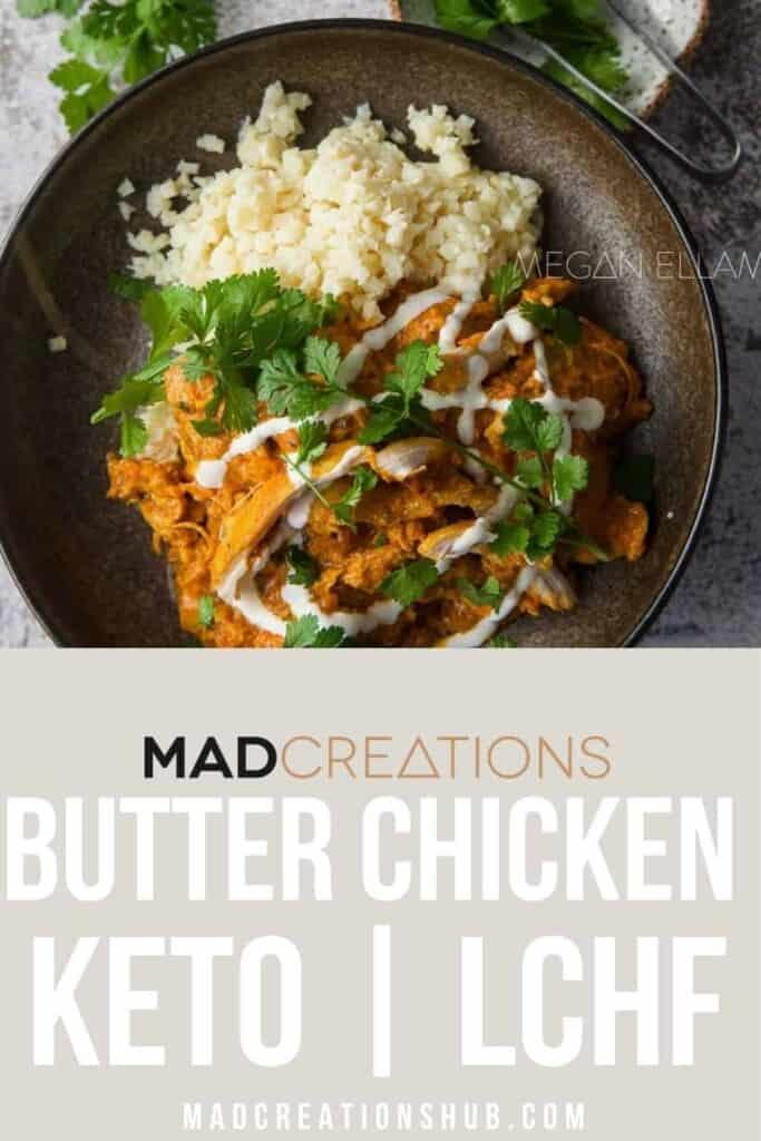 A Butter Chicken in a bowl Pinterest Banner.