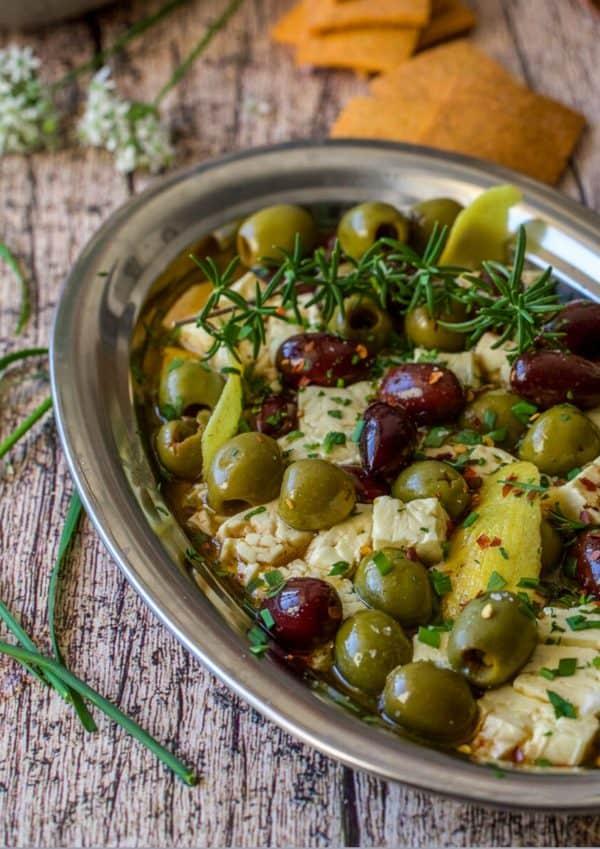 Tray of olives and feta