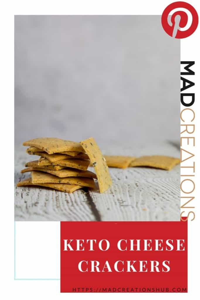 a stack of keto cheese crackers on white wood