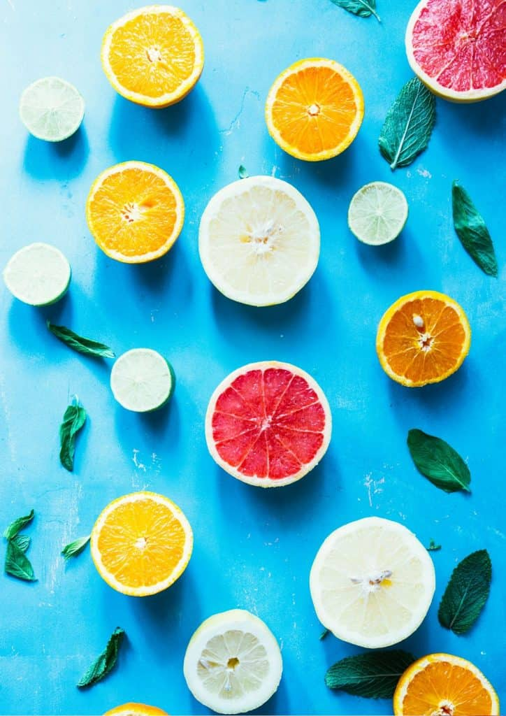Citrus on a bright blue background