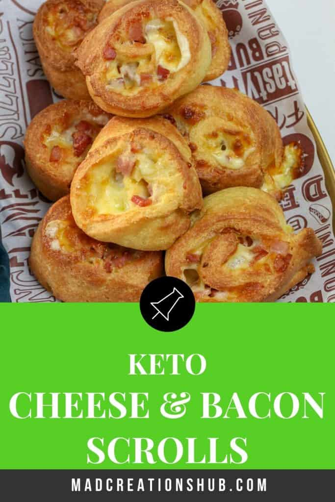 cheese and bacon scrolls on a pinterest banner