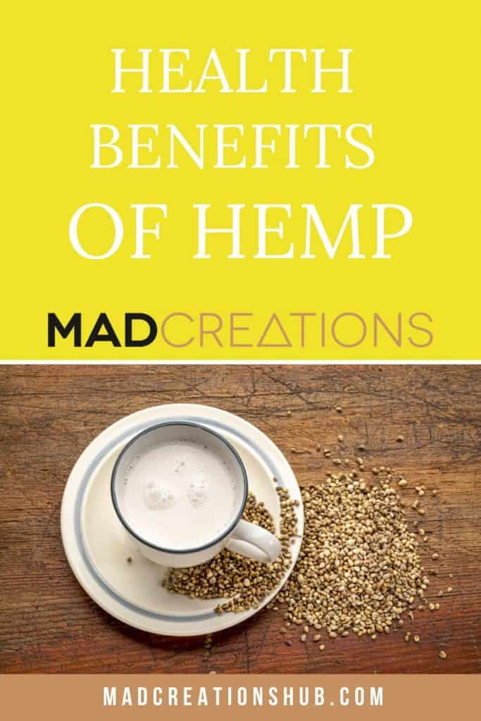 hemp milk in a cup with hemp seeds on the side
