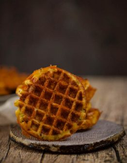 A chaffle on a brown plate