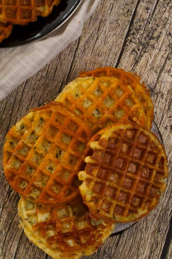 stack of chaffles on a wood table