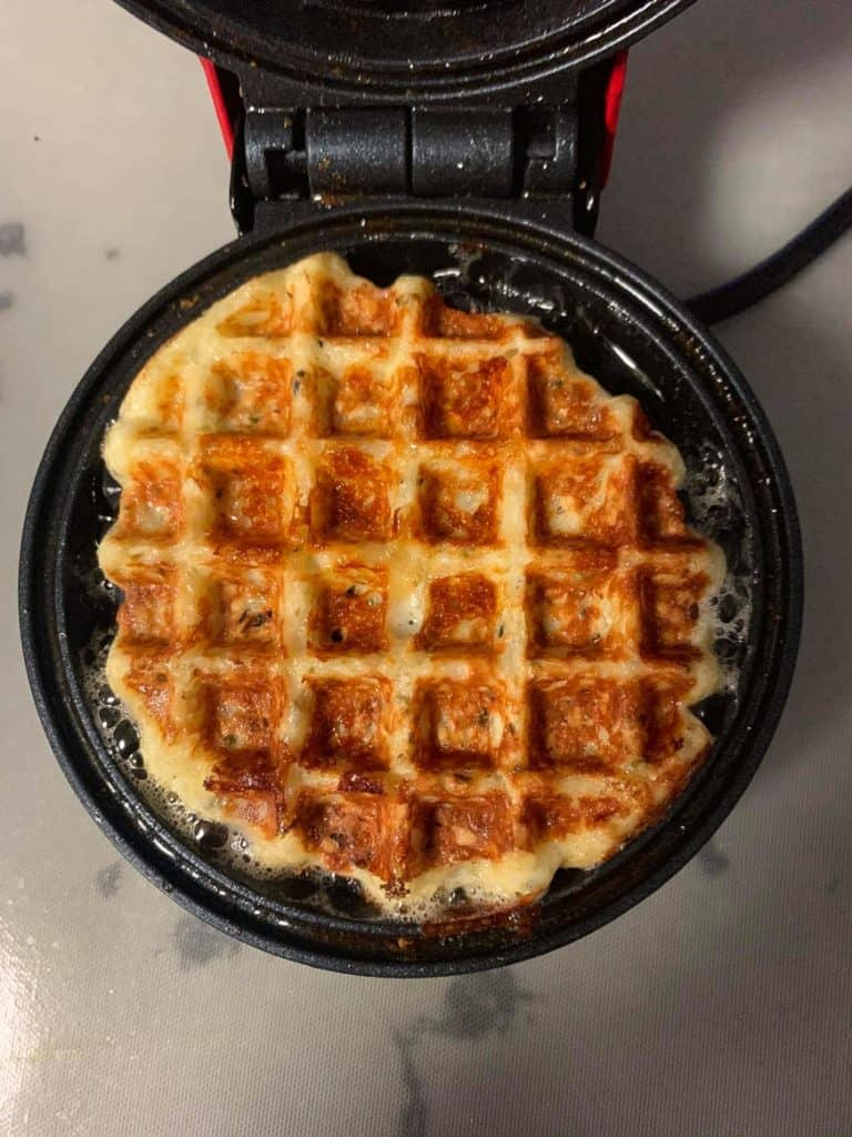 cooked chaffle on chaffle iron
