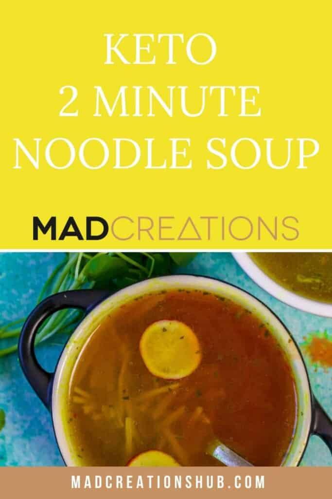 Keto 2 Minute Noodle Soup Pinterest Banner with 3 bowls of soup