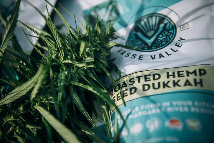 hemp dukkah packet and hemp plant