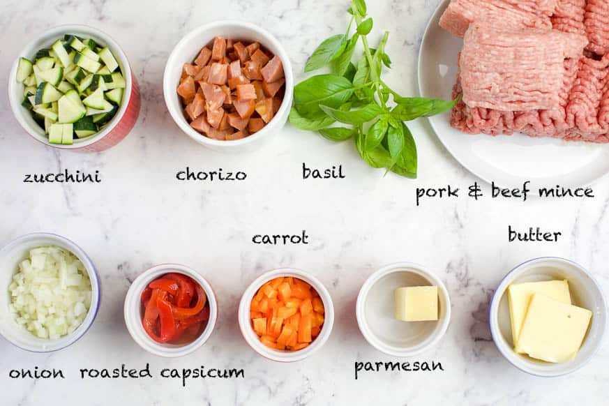 Italian minestrone ingredients laid out