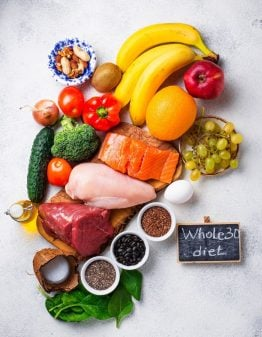 whole30 diet foods on a grey background with the a sign what is the whole30 det