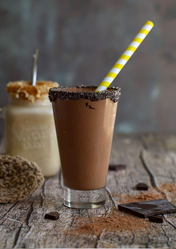 chocolate rimmed glass with chocolate smoothie