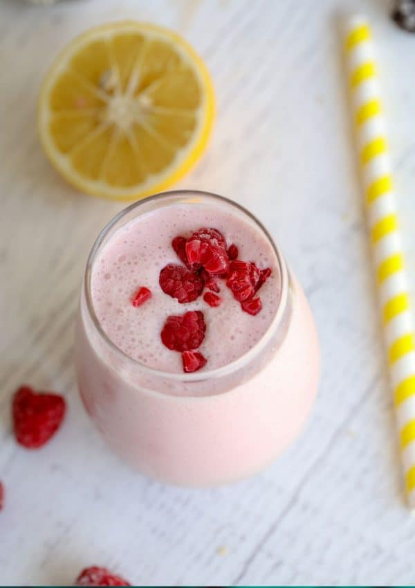 raspberry smoothie in a glass