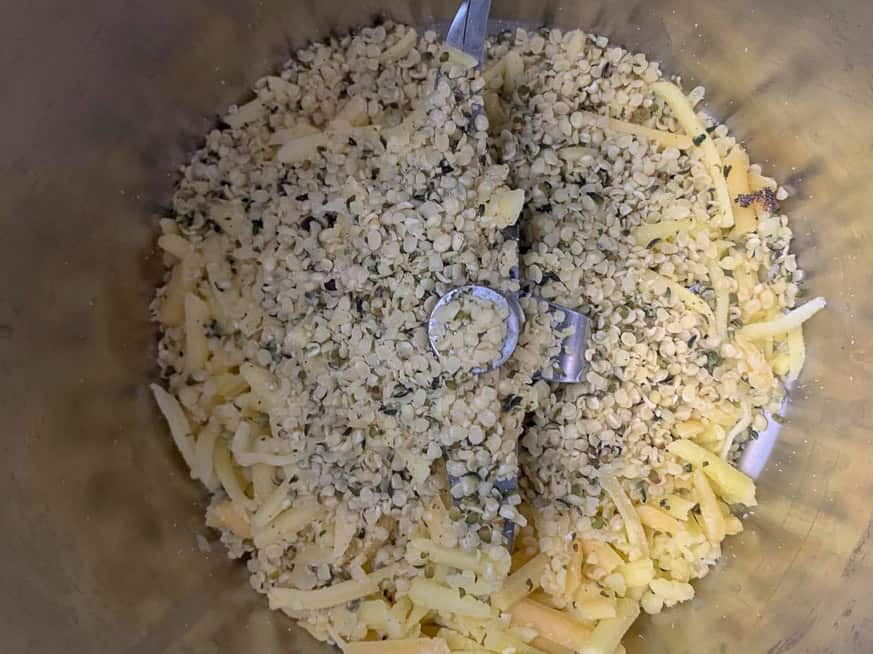 hemp and cheese in a thermomix bowl