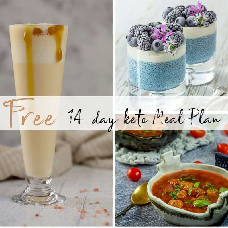 Keto Meal plan smoothie, chia pudding and meatballs with a banner